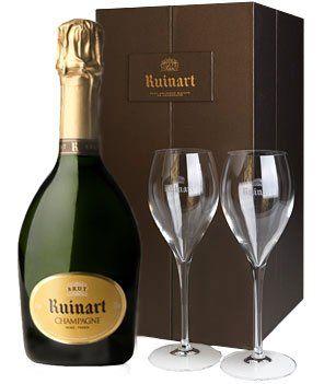 Luxe champagnecadeau: Elegante Ruinart 'R' Brut champagne met mooie kristallen glazen