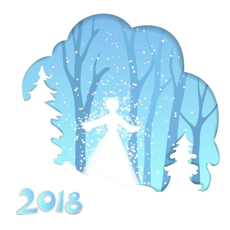 Vector illustration of a snow girl, was dissolved in a blizzard in winter forest.