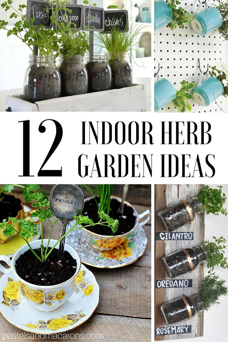 Stunning indoor herb garden ideas you can DIY. Perfect for small spaces. Find lovely potted planter ideas and herb gardens using tins, tea cups, mason jars and more!