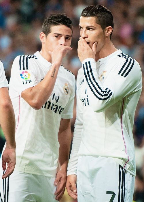 Please tell me what you're saying!!!  Real Madrid CF | Ronaldo & Rodriguez #soccer #football #madrid #ronaldo