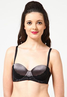 Grey 'Balconette Bra' for women from Scandale. Made from polyamide blend, it comes in comfort fit.