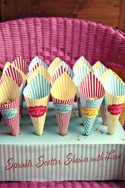 seaside/funfair themed wedding stationary by Dottie Creations. Confetti cones http://www.dottiecreations.com/QUIRKY_460045.html