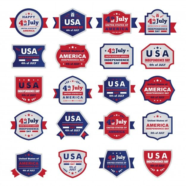 """""""""""Happy independence day United States of America, 4th of July. A set of Flat frames/ badges"""""""" Vector 