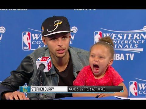 Stephen Curry's Daughter DOMINATES Postgame Press Conference - YouTube