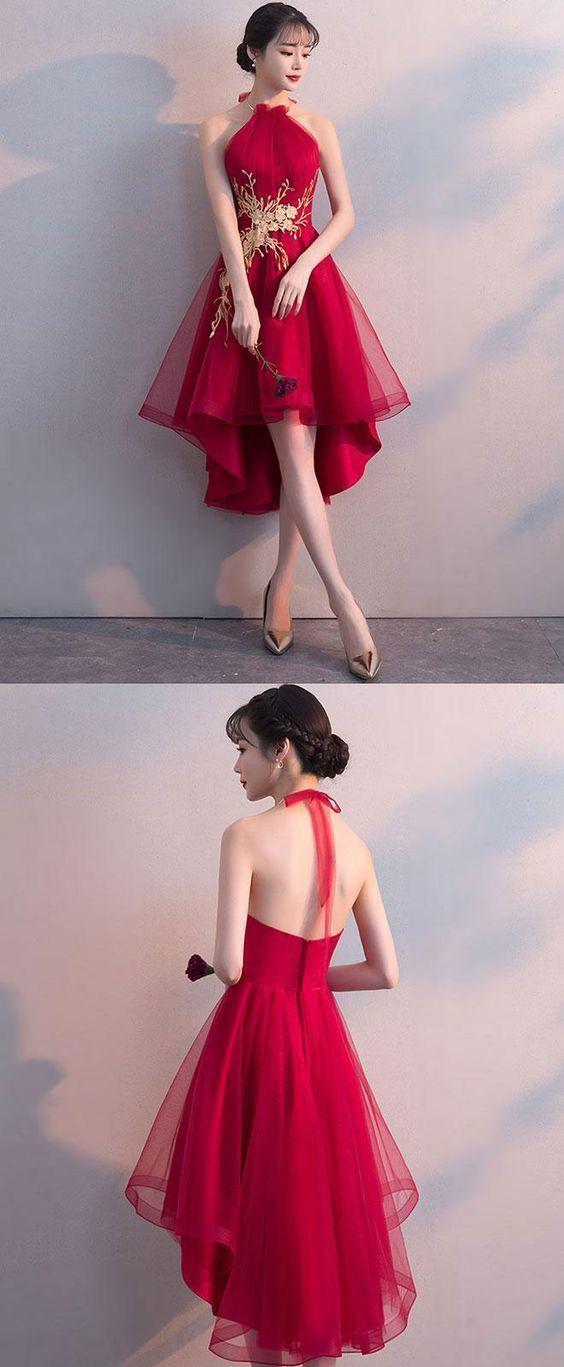 Halfter Red Tulle A-Line Homecoming Kleider, ärmellose kurze Ballkleider – Abendkleider