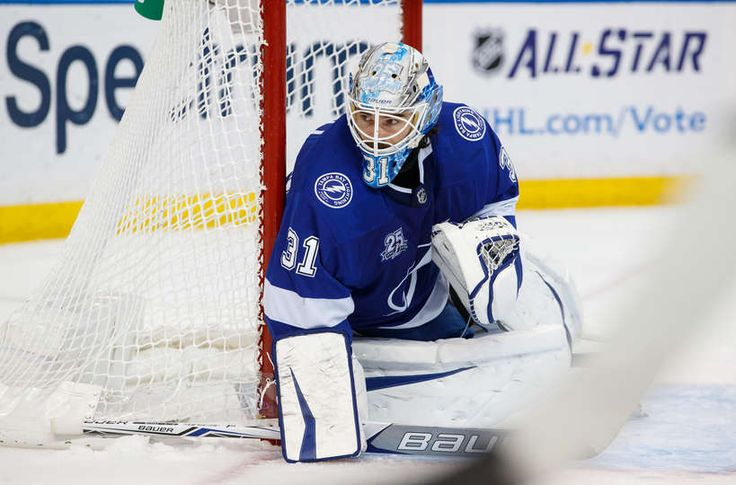 TAMPA, FL - DECEMBER 29: Peter Budaj #31 of the Tampa Bay Lightning skates against the Philadelphia Flyers during the second period at Amalie Arena on December 29, 2017 in Tampa, Florida. (Photo by Scott Audette/NHLI via Getty Images)