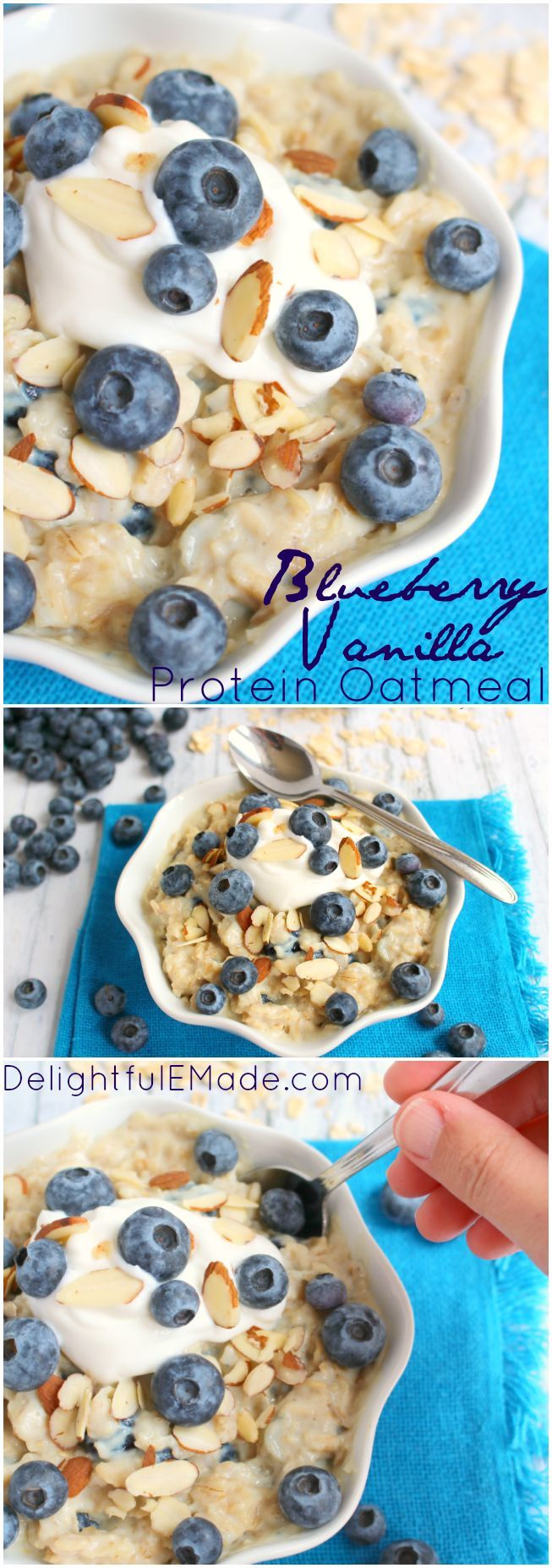 A healthy, easy and delicious way to start your day! Creamy, delicious vanilla oatmeal mixed with plump, fresh blueberries make for a breakfast that's loaded with protein and fiber keeping you full all the way to lunchtime! #powerinprotein #ad