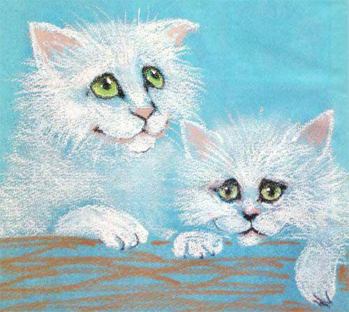 Белые котята, урок поэтапного рисования для начинающих