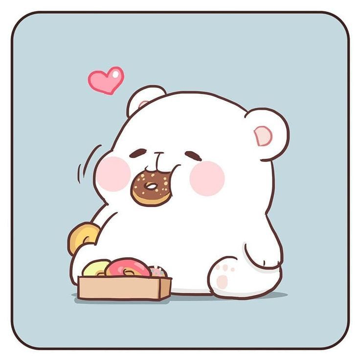Adorable Simple And Cute Polar Bear Doodle The Donuts Make The Drawing Even More Kawaii Cute Bear Drawings Polar Bear Drawing Cute Doodles