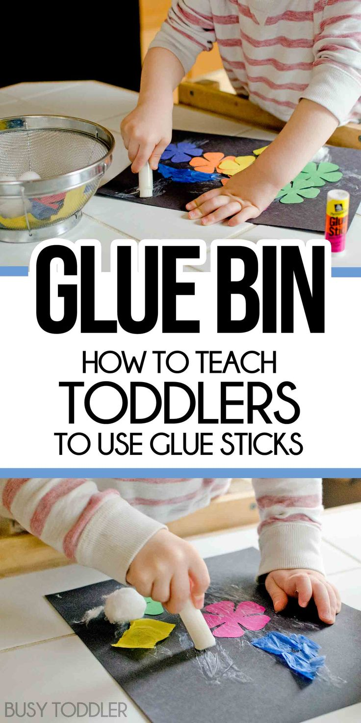 Skill Practice: Glue Stick Activity Bin - a fun way to teach toddlers to use glue sticks. Create a gluing station for toddlers and preschoolers.