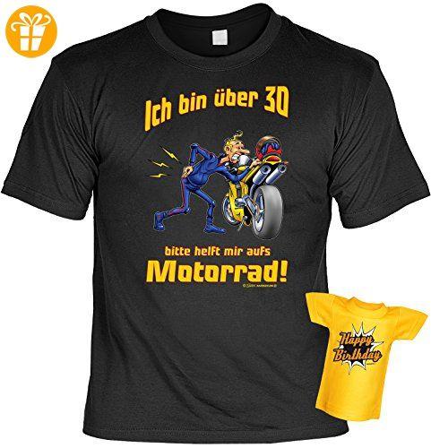 Geburtstags-Fun-Shirt-Set inkl. Mini-Shirt/Flaschendeko: Ich bin über 30 bitte helft mir aufs Motorrad! (*Partner-Link)