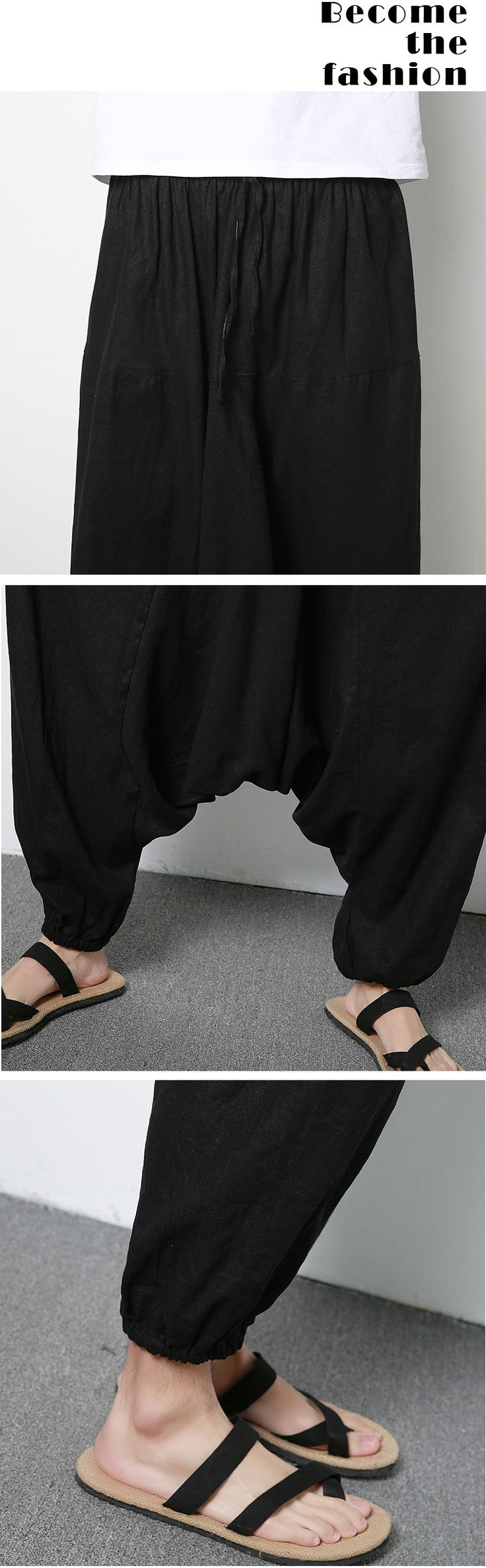 Men's Cotton Linen Harem Pants Casual Baggy Loose Trousers