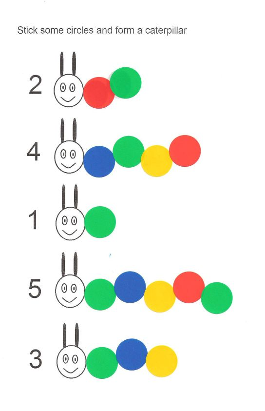 The Very Hungry Caterpillar // stickers // number recognition >> Ook leuk met plakcirkels!