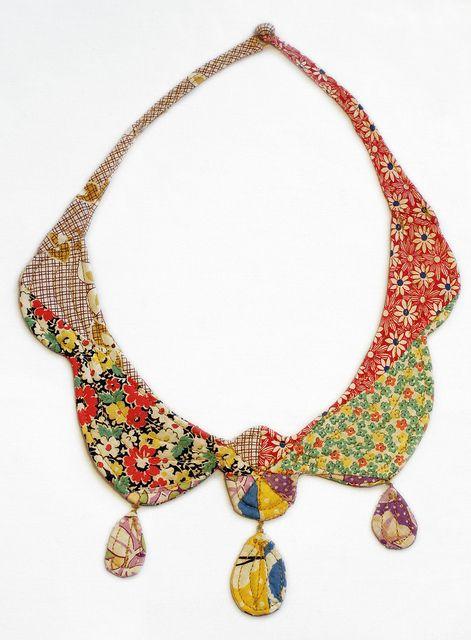"By Mari Fray Foster   ""Heirloom"" necklace Fall 2010  Vintage quilt blocks, batting, thread"