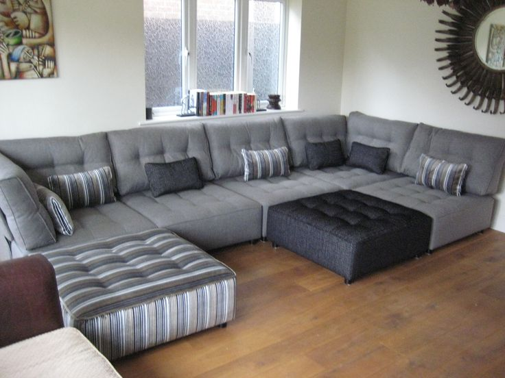Such A Clever Use Of Neutrals On This Enormous Sectional Sofa Set!