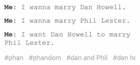 Basically the PHANDOM Ina nutshell. I wanna marry Dan, I wanna marry Phil, but more than that, I wasn't them to marry each other!