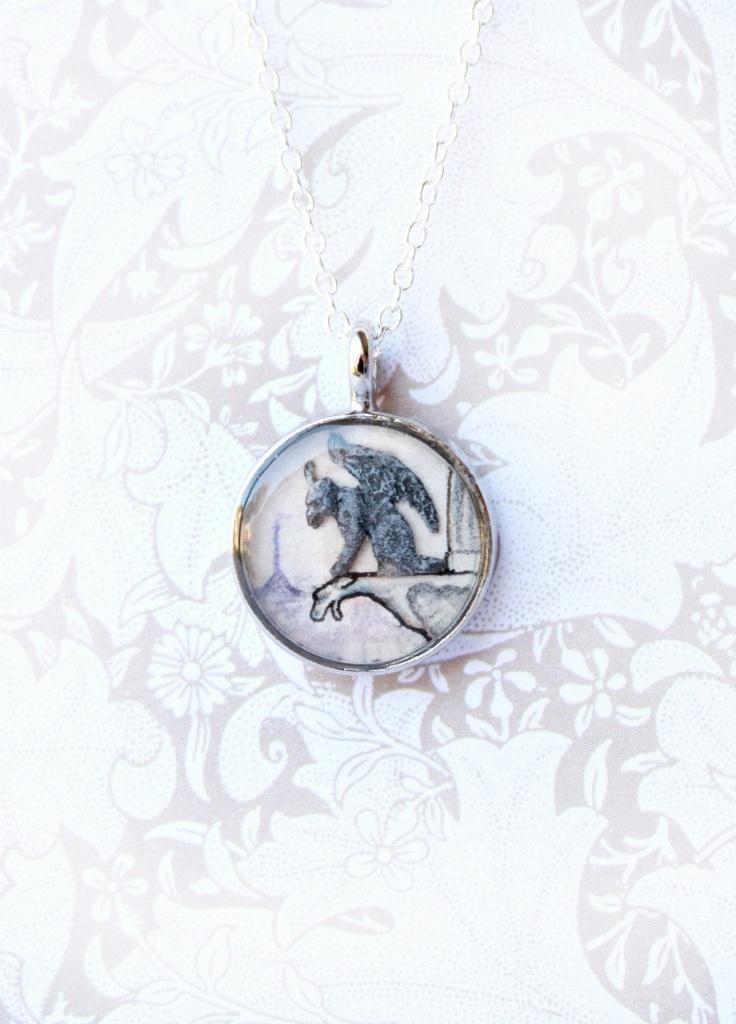 Le Guardian Gargoyle -- Gothic Totem Necklace Pendant, Paris Cityscape $ 58.00 ... http://www.sarahlambertcook.com/products/le-guardian-gargoyle-gothic-totem-necklace-pendant-paris-cityscape#