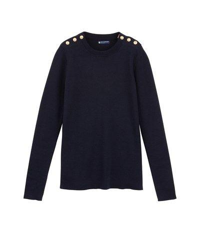 Je le veux!!!! L'iconique pull marin femme en tricot de coton bleu Abysse - Petit Bateau