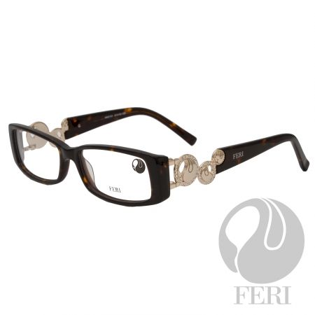 FERI - Ankara Gold - Optical - FERI Optical glasses are manufactured in Italy - Acetate optical glasses - Embellished with gold coloured metal and clear stones - FERI logo on both outer arms - Rectangular frame shape - Comes with non-prescription plano Lens - Incredibly unique styling will turn heads  *FERI Optical glasses DO NOT come with prescription lenses. Please take the frames to your Optician to have your custom prescription lens installed.*