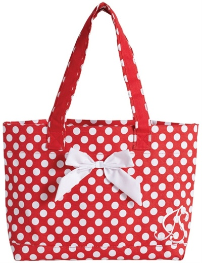 Jessie Steele Tote Bag with Bow Red & White Polka Dot