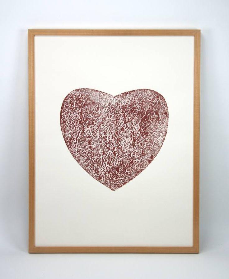 "Saatchi Art Artist Dennis Happé; Printmaking, ""Brown heart"" #art"