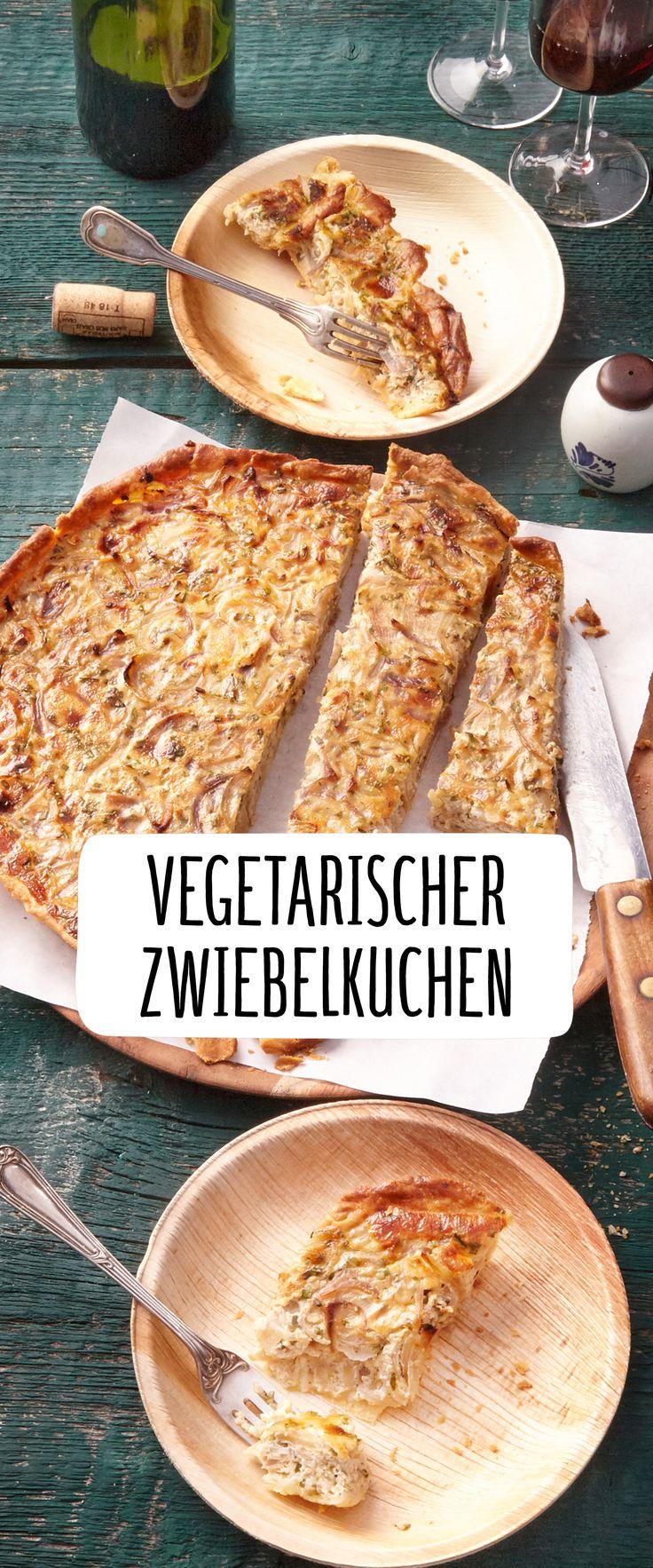 Vegetarisch Zwiebel Kuchen Warm Heiß Backen Würzig Herzhaft Haupt Gericht Mahlzeit Ofen Wein Weihnachten Silvester Snack Lecker Würzig