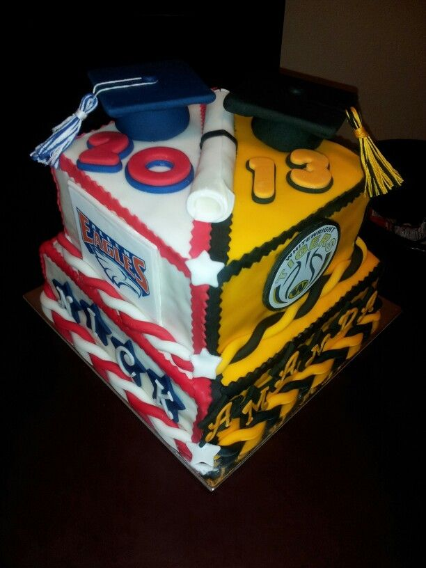 Double graduation cake By Misty Wood - DFW Area For Ordering Information www.buildmeacake.com www.facebook.com/buildmeacake