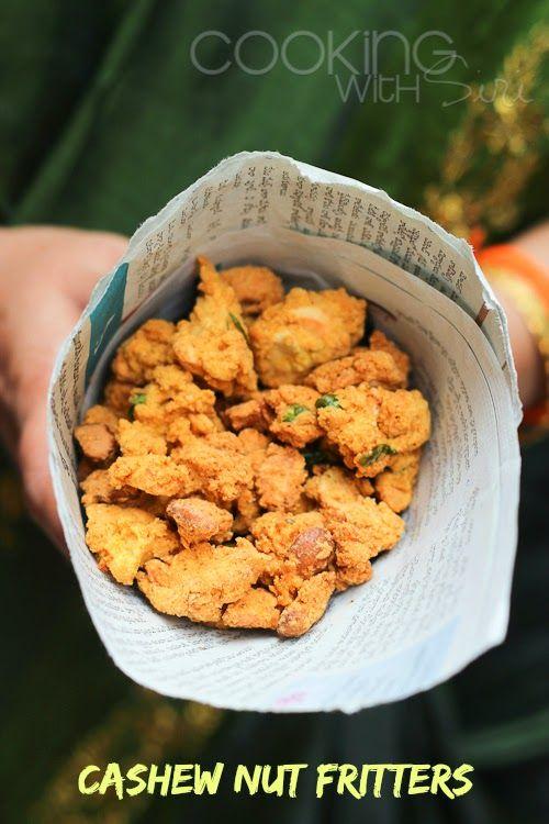 Cashew Nut Fritters (Kaju Pakoda). Get the #recipe here --> http://www.cookingwithsiri.com/2014/07/j-for-jeedipappu-pakodi-recipe-cashew.html #vegan