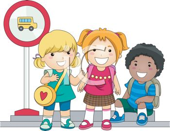 Royalty Free Clipart Image of a Group of Children Waiting for a School Bus