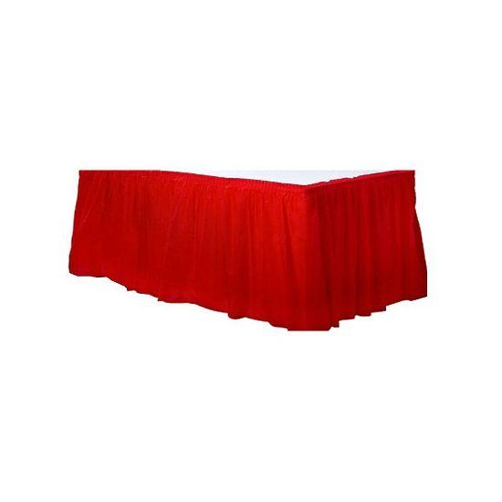 Rode tafelrok. Dit rode tafelkleed voor om de rand van een tafel heeft een plakstrip voor een makkelijke bevestiging. De tafelrok is gemaakt van plastic en is ongeveer 4,25 x 74 cm groot.