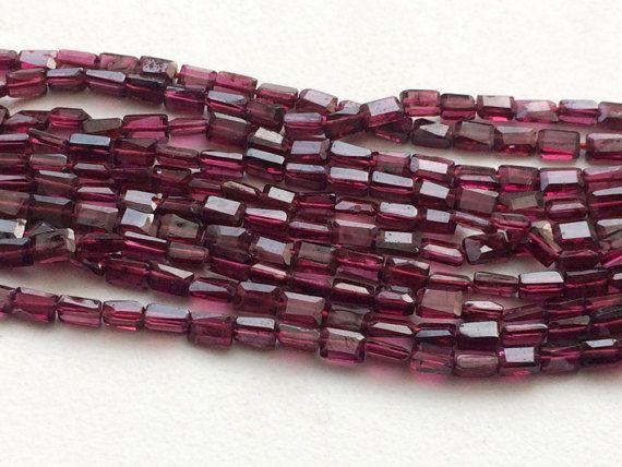 Garnet Beads Garnet Faceted Fancy Long Box Beads by gemsforjewels
