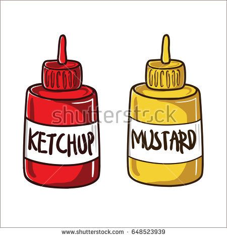 Cartoon Ketchup and Mustard on Bottle Vector Illustration
