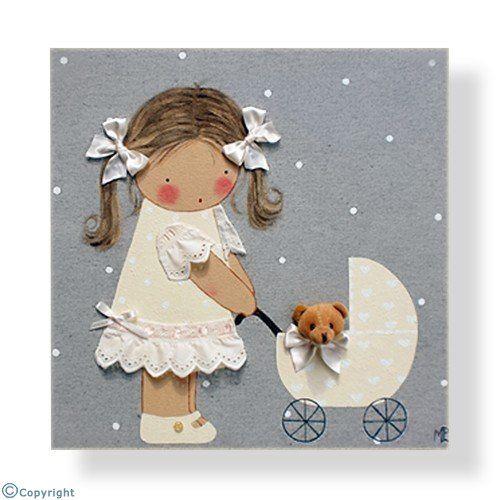 Cuadro infantil personalizado: Niña con un cochecito de bebé (ref. 12028-03)