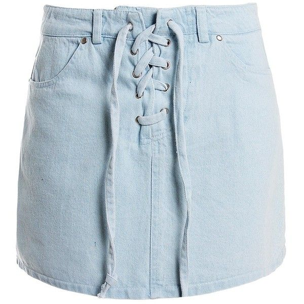Sans Souci Lace up denim mini skirt (120 BRL) ❤ liked on Polyvore featuring skirts, mini skirts, denim, blue denim skirt, sans souci, denim miniskirt, short denim skirts and short mini skir
