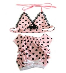 Pink with Black Polka Dot Puppy Bikini Set