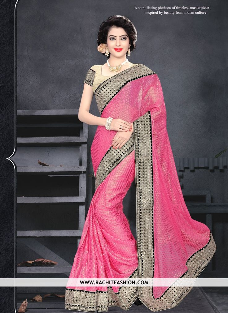 Fall on your figure with soft touch and make you feel comfort all day long. Buy this new fashioned peach saree on Rachit Fashion.