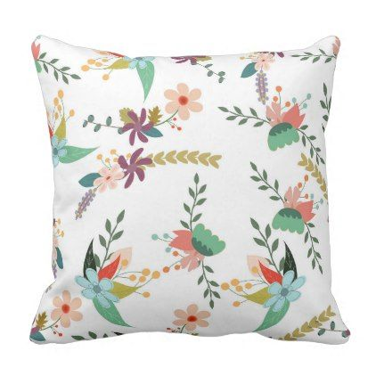 Retro Floral Pattern Flowers Leaves Throw Pillow - floral style flower flowers stylish diy personalize