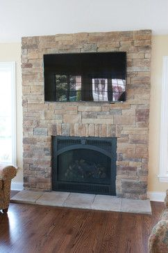 Attrayant Stone Fireplaces With TVs Traditional Living Room