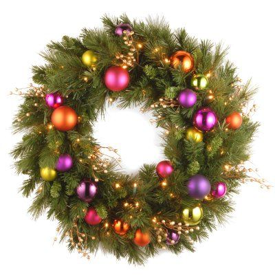30 in. Kaleidoscope LED Pre-Lit Wreath - KS3-300L-30WB