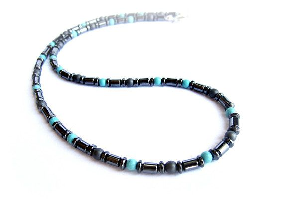 Mens beaded necklace black hematite and turquoise howlite stone bead necklace tiny necklace for him mens gift gemstone necklace