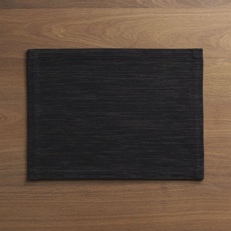 Grasscloth Black Placemat  | Crate and Barrel
