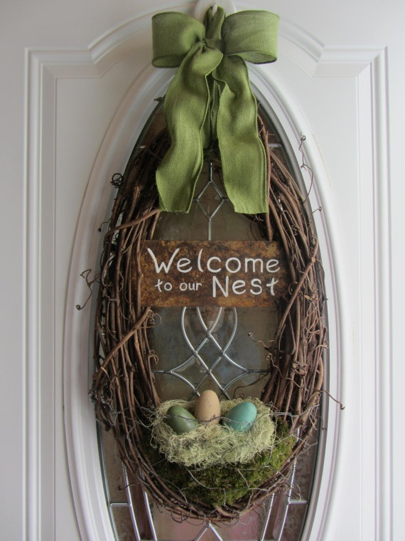 Easter Wreath  Spring Wreath  Welcome Door by DoorWreathsByDesign, $63.95