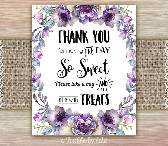 Candy Buffet Sign Candy Table Sign Treats Sign Purple Floral