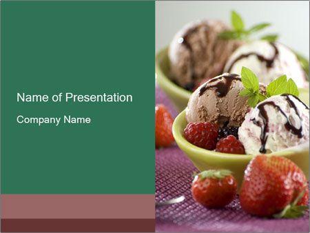 Helado con chocolate y Berry Plantillas de Presentaciones PowerPoint