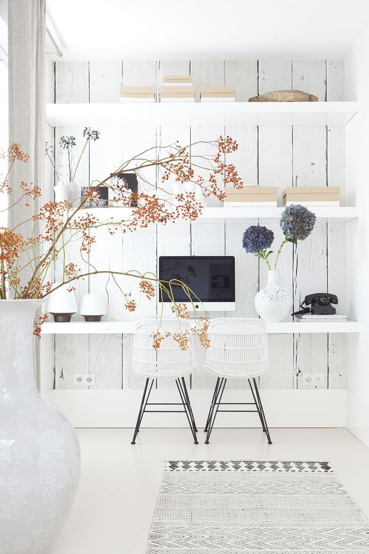 white office {love the wood paneling and the floating shelf used as a desk and that RUG!} #office #white