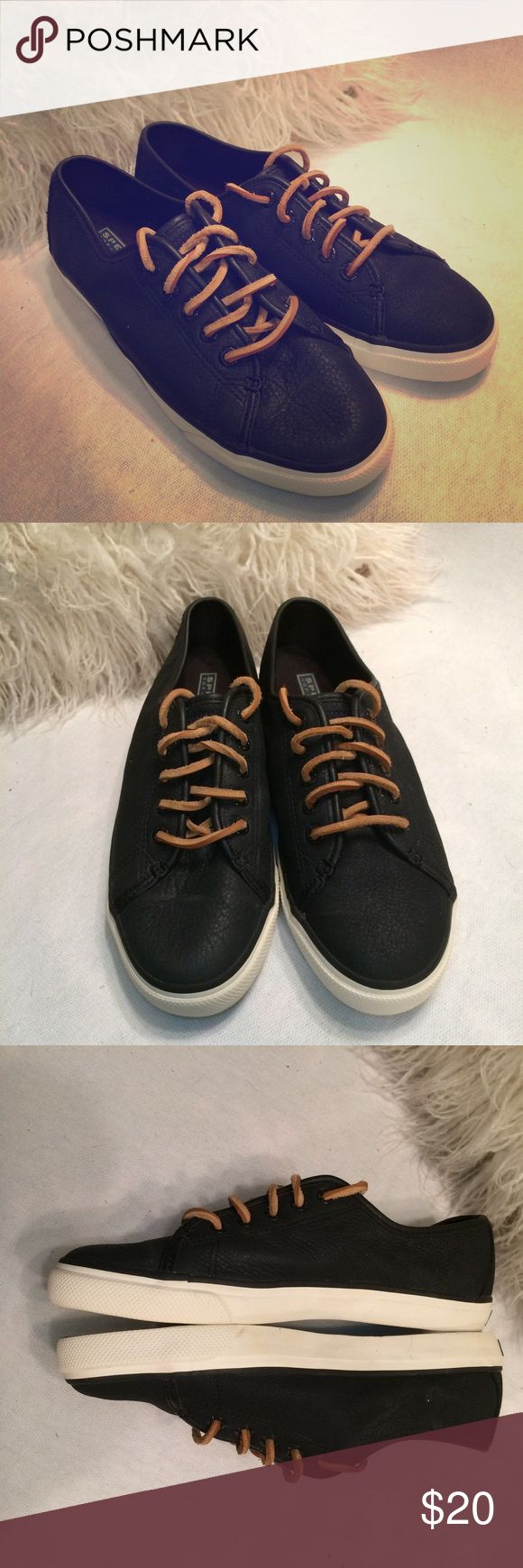 SPERRY TOP SIDER black leather boat shoes SZ 8.5 Cool shoes. All leather, split leather laces. Very clean and in good shape. Signs of wear on soles, but that's about it!  Black, size 8.5 M Sperry Top-Sider Shoes Sneakers