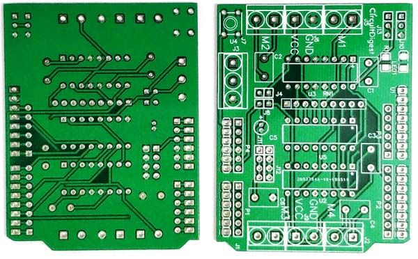 DIY Arduino Motor Driver Shield PCB front and back view