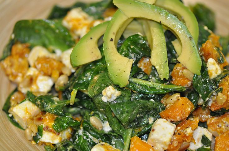 http://www.inspiringhabits.com.au/ Pumpkin, Spinach and Feta Salad. Simple to prepare and absolutely delicious. Roasted pumpkin, creamy feta and fresh spinach are complemented beautifully by delicate pine nuts, rich sesame seeds and a tangy dressing. This salad is versatile and vibrant, making it perfect for any occasion.