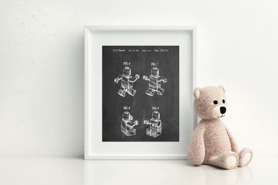 Lego Mini Figure Poster Lego Man Boys Room Decor by PatentPrints