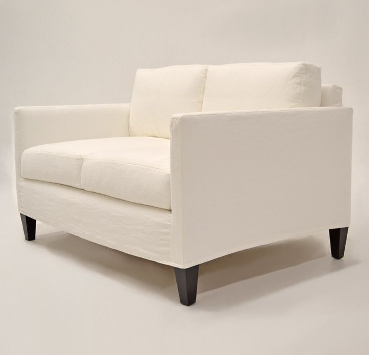 Quatrine Custom Furniture Midcentury Slipcovered Sofa White Washable Custom